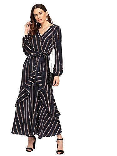 - Floerns Women's Long Sleeve V Neck Self Tie Ruffle Hem Wrap Stripe Maxi Dress Navy M
