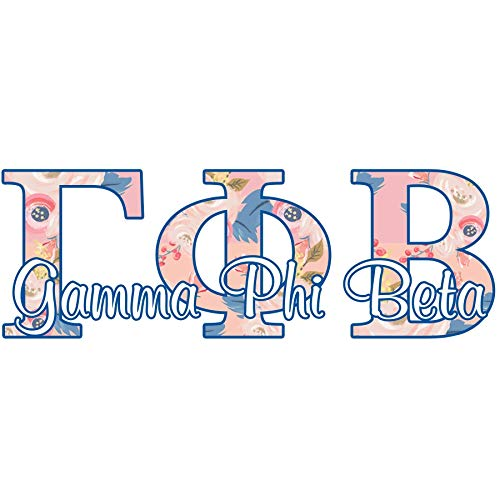 Gamma Phi Beta sorority decal - 5 inch wide sticker - Floral letters in pink