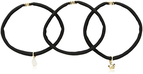 Kenneth Cole New York Women's Black & Gold Flower 3-Set Tie Hair Accessory, One Size