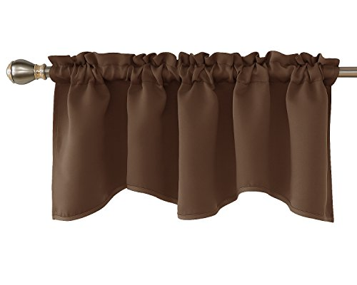- Deconovo Solid Window Dressing Rod Pocket Curtains Blackout Scalloped Valance for Kitchen 42x18 Inch Brown 1 Drape