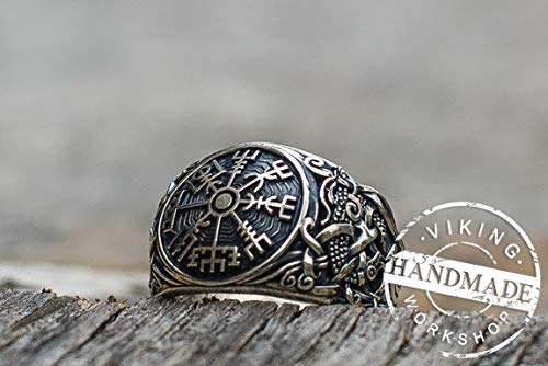 - Vegvisir Symbol with Mammen Style Sterling Silver Norse Ring