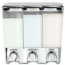 Better Living Products Clear Choice Dispenser III Three Chamber Shower Dispenser, Chrome