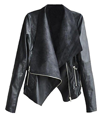 Womens Coat Short Jacket Casual Faux UK today Irregular Black Leather Lapel PU wqCSCv