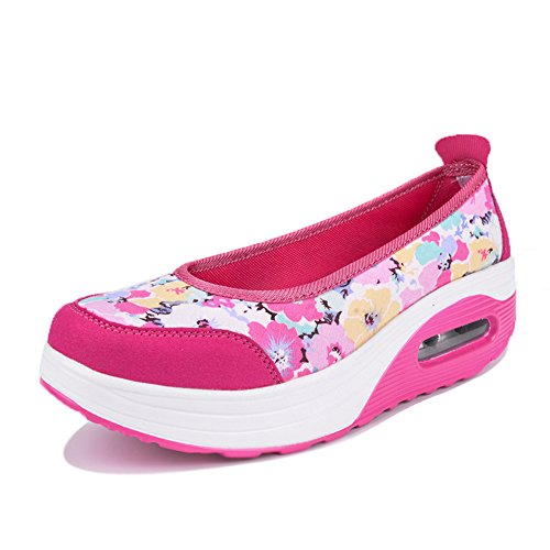 Enllerviid Mujer Slip-on Toning Walking Shoes Zapatillas De Deporte Con Plataforma De Encaje Floral 2961 Rose Floral