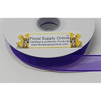 Wired Edge organza Sheer Craft Ribbon, 5/8-Inch Wide by 25-Yard Spool (5/8 Inch x 25 Yard, Purple)