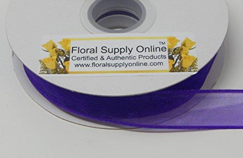 Wired Edge organza Sheer Craft Ribbon, 5/8-Inch Wide by 25-Yard Spool (5/8 Inch x 25 Yard, Purple) - Edge Sheer Ribbon