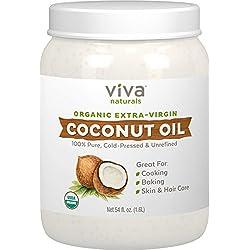 Viva Naturals Organic Extra Virgin Coconut Oil (54 Oz) - Non-Gmo Cold Pressed