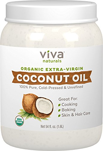 Viva Naturals Organic Extra Virgin Coconut Oil (54 Oz) - Non-Gmo Cold Pressed