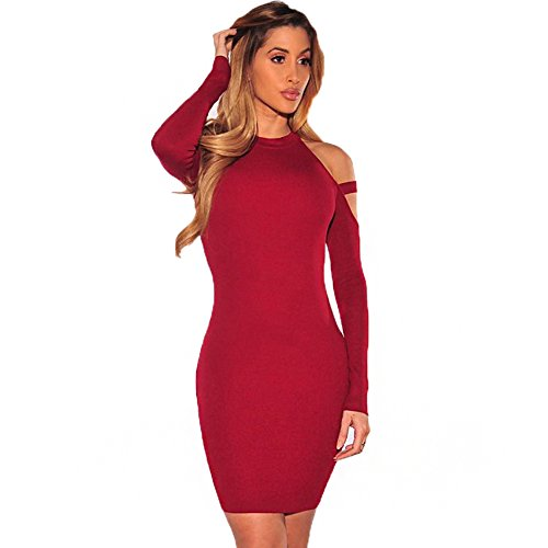 PrettySoul Women's Sexy Halter Long Sleeve Off Shoulder Bodycon Party Club Midi Dress