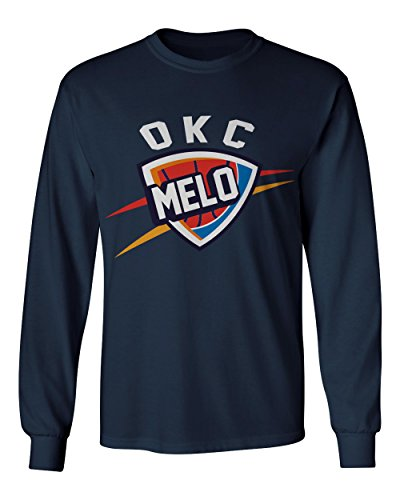 Oklahoma City Anthony  Melo  Logo Mens Long Sleeve T Shirt  Navy Xl