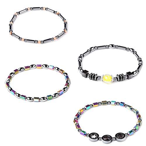 (Thunaraz 4PCS Hematite Stone Anklets Energy Magnetic Bracelet Therapy Bracelet for Women)