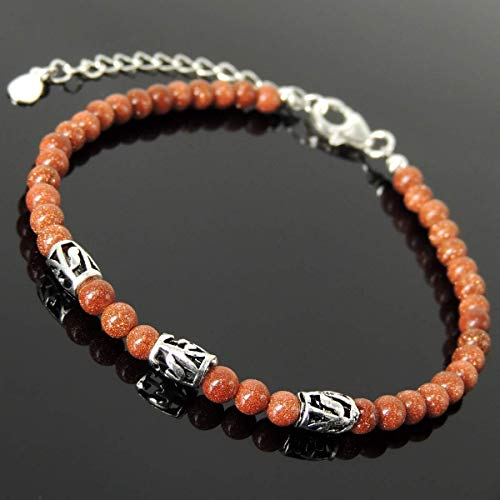 Handmade Healing Gemstone Bracelet Men's Women's Cleansing Protection with 4mm Golden Sandstone, Genuine S925 Sterling Silver Leaf Carving Barrel Beads, Clasp, Chain & Link