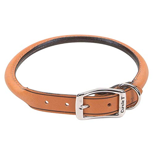 Coastal Pet Circle T Oak-Tanned Rolled Leather Dog Collar | Tan Color | 3/4