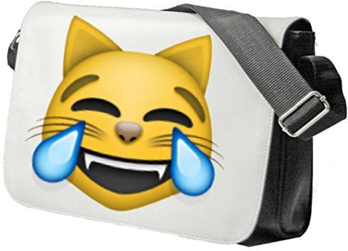 """Schultertasche """"Katzengesicht mit Freudentränen"""" Schultasche, Sidebag, Handtasche, Sporttasche, Fitness, Rucksack, Emoji, Smiley"""