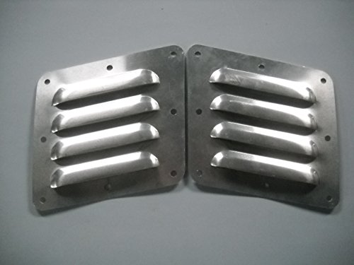 "RodLouvers Pair of Angled Aluminum 5"" 4 Louver Hood Panels (Bolt-On) Kit"
