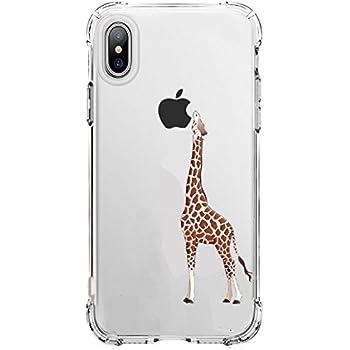 Cute iPhone X Case Clear, Amusing Whimsical Design Bumper TPU Soft Case Rubber Silicone Skin Cover for Apple iPhone X Case(2017 Release) - Eating Giraffe (Giraffe)