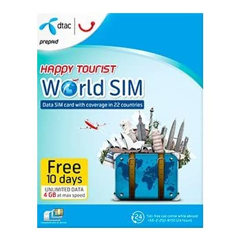 dtac happy tourist world sim prepaid sim 4gb data only sim for 10 days in 22 - Prepaid Data Only Sim Card