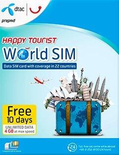 Tarjeta SIM prepagada Happy Tourist de Dtac, de 4 GB para datos LTE y datos 2G ilimitados, con una duración de 10 días y cobertura en 22 países