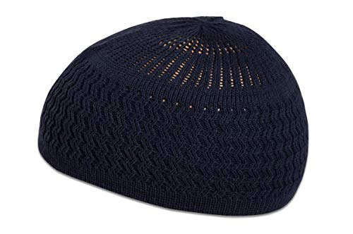 - Candid Signature Apparel Zigzag Threaded Skull Cap Chemo Kufi Beanie Hat for Men Women Bikers (Navy Blue)