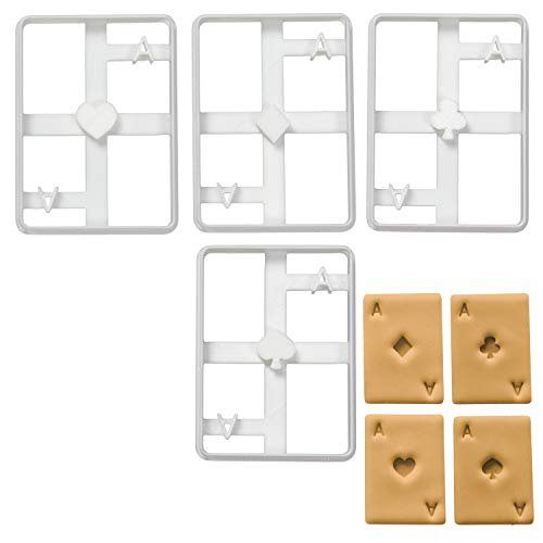 Set of 4 Poker Card cookie cutters (Designs: Ace of Spades, Diamond, Club and Heart), 4 pieces, Ideal for DIY Las Vegas Casino theme party - Bakerlogy