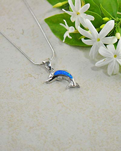 Dolphins Opal Necklace - SIVALYA Sterling Silver Jewelry Created Blue Fire Opal Dolphin Pendant Necklace