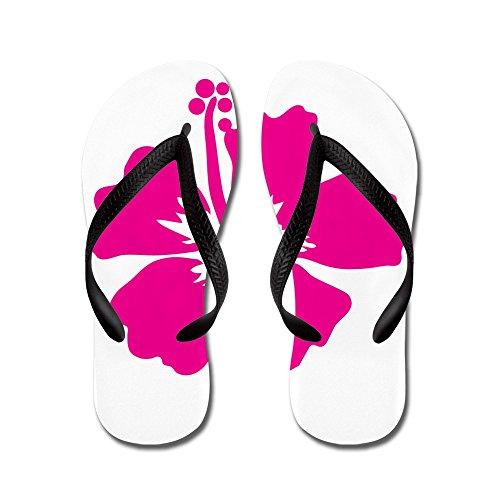 Cafepress Hot Pink Ibiscus Flower - Infradito, Sandali Infradito Divertenti, Sandali Da Spiaggia Neri