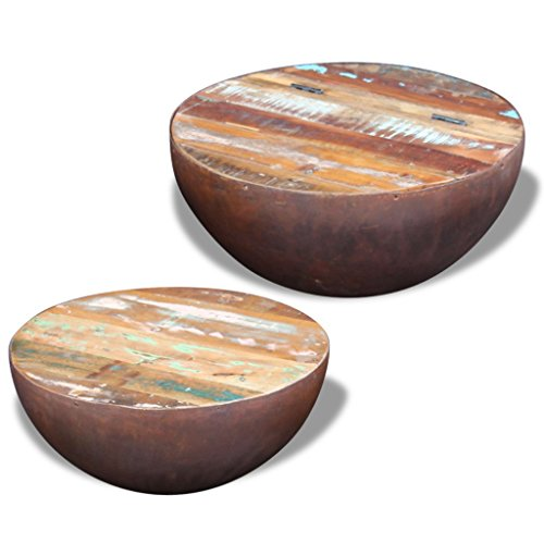 Festnight Set of 2 Reclaimed Wood Bowl Shaped Coffee Side Table Set (Table Teak Coffee Chest)