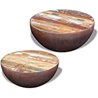 Festnight Set of 2 Reclaimed Wood Bowl Shaped Coffee Side Table Set