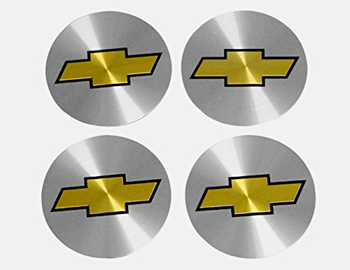 (4x NEW CHEVROLET Silver & Gold Wheel Center Caps Sticker Decal 56MM Full Set 2.3 inch)