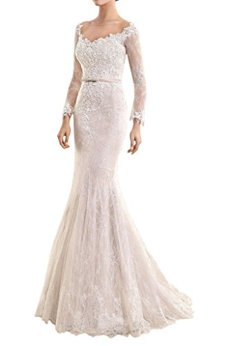 MILANO BRIDE Slim Mermaid Illusion-Neck Long Sleeves Floral Applique Bridal Dress-8-Light Ivory