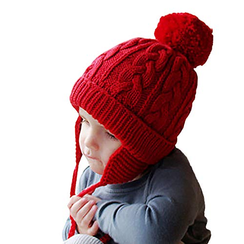 Gbell Toddler Baby Knitting Hats with Earflaps,Infant Winter Pompom Skully Bonnets Warm Crochet Earflaps Cap for Girls Boys Kids 6 Months - 6 Years ()