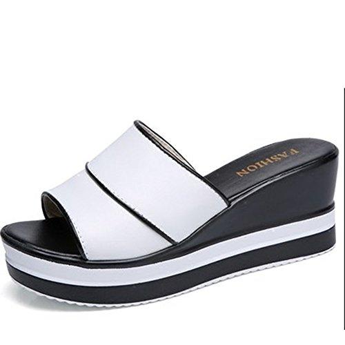 Cómodo Pendiente con las zapatillas Pantuflas femeninas del cuero del mollete del verano femenino Zapatillas de la manera Fuera de las sandalias gruesas (2 colores opcionales) (tamaño opcional) Aument A