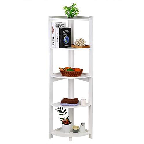 Corner Shelf Unit, Modern 5-Tier Wooden Corner Book Shelf Storage Organizer Display Rack Stand White Bedroom Living Room (Corner -