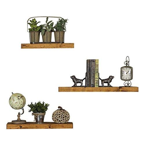 Del Hutson Designs Handmade Rustic Pine Wood Floating Shelves Set Of 3 Walnut Buy Online In