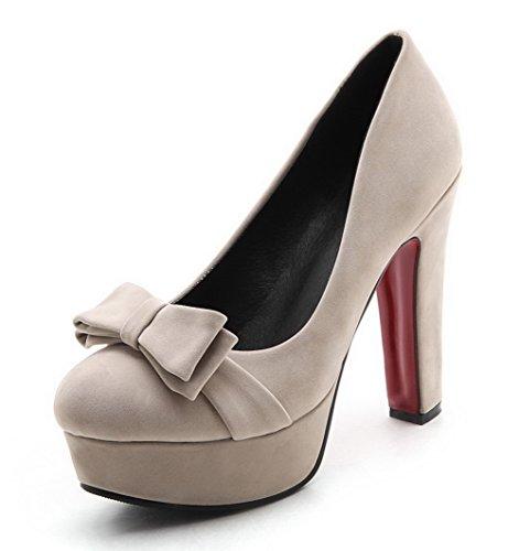 Microfibra Alti shoes Tacchi Amoonyfashion Soild Albicocca Donne Pompe Delle gEqSw1vg