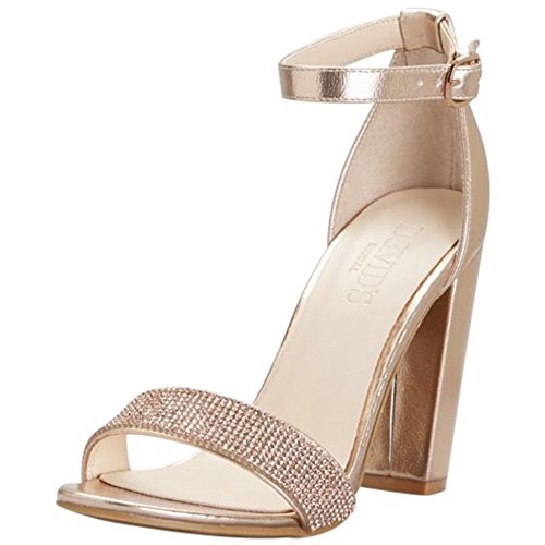 David's Bridal Crystal-Strap Metallic Block Heel Sandals Style Brynne, Rose Gold, 9