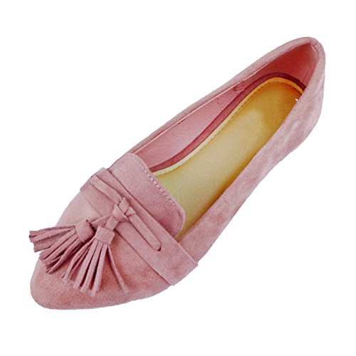 Women's Oxford Faux Tassel Pointy Suede Loafer Toe Slip Flats Comfortable Guilty Mauve Casual Suede Espadrille On Heart TSqW15
