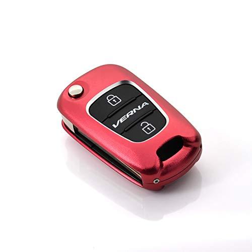 Aluminium Alloy Car Key Cover Key Shell for Hyundai Verna Elantra Tucson Sonata Sonata8 Key Case Key Bag Color Name Red Wine No Keychain