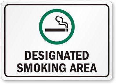 smoking zone sign that alerts where to smoke