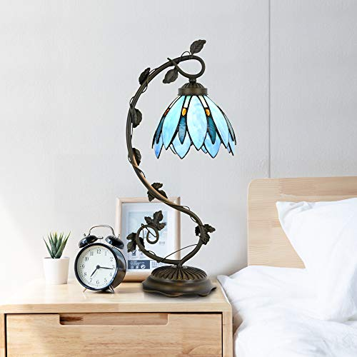 Cloud Mountain Tiffany Style Table Lamp Light Blue Floral Leaf Lotus Shape Arched Stained Glass Desk Lamp Home Decor Lighting with 7 Inch Lampshade by Cloud Mountain (Image #5)