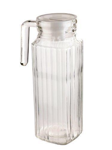 Jarra cuadrada de cristal con tapa, 1 litro.