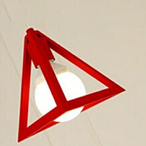 NUOLUX Vintage Industrial Triangle Pendant Light Chandelier Ceiling Lamp with White Line (Red)