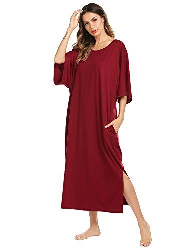 Ekouaer Womens V-Neck Cotton Nightgown Oversized Loose Fit Long Sleep Dress, A_purplish Red, Large (Best Women's Loungewear Brands)