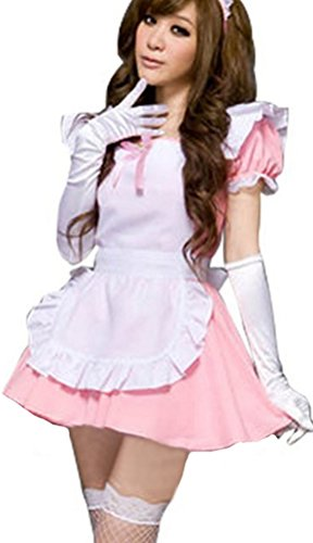 Hot Pink Women Sexy Wear Maid Cosume Cute Cosplay Costume Set (Hot Cosplay Women)