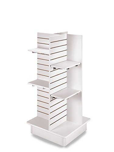 4-Panel White Slatwall Tower with Casters and Shelves (23