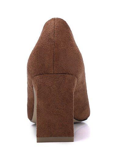GGX/Damen-Schuhe Fall Heels/Square Toe Heels Party & Abend/Kleid/Casual Chunky Heel Schwarz/Braun (Leder) black-us7.5 / eu38 / uk5.5 / cn38