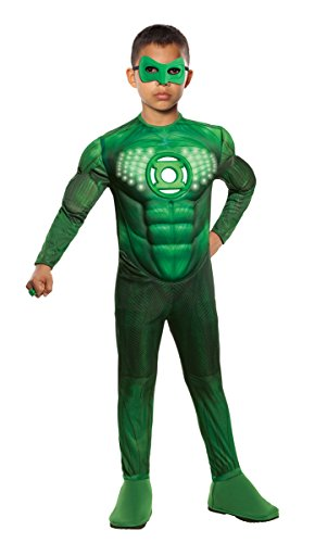 Green Lantern Child's Deluxe Hal Jordan Costume with Light Up Logo – One Color – Medium