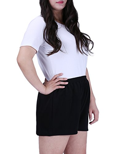 HDE Womens Plus Size Shorts Patterned Casual Pull On Elastic Waist Dress Shorts (Black, 2X) by HDE (Image #2)