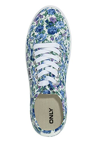 Only Damen Sneaker Low Top Schnürschuhe Sportschuhe Halbschuhe Light Blue Denim/Flower
