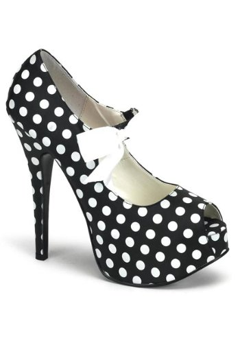 - Pleaser Bordello Women's Teeze-25 Pump,Black Satin Polyurethane w/White Polka Dots,10 M US